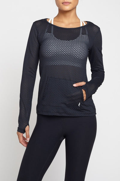 Pheel  Long Sleeved Tee Peekaboo Top - Black JUJA Active - 1