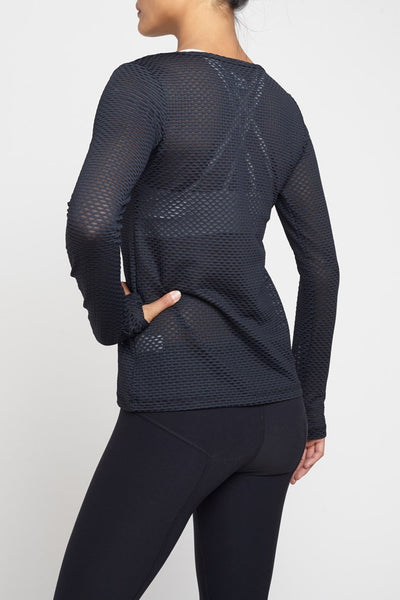 Pheel  Long Sleeved Tee Peekaboo Top - Black JUJA Active - 2