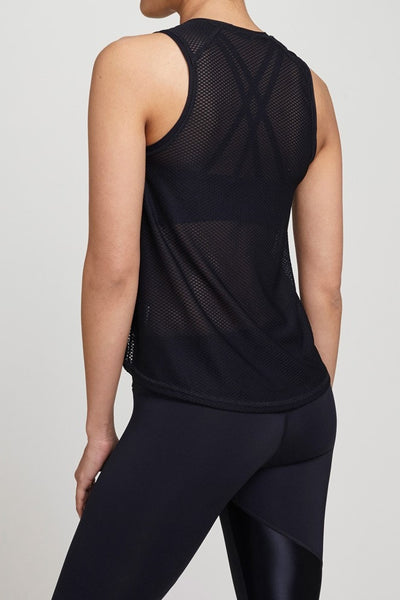 Track & Bliss  Tank Textured Hi Lo Tank - Black JUJA Active - 2