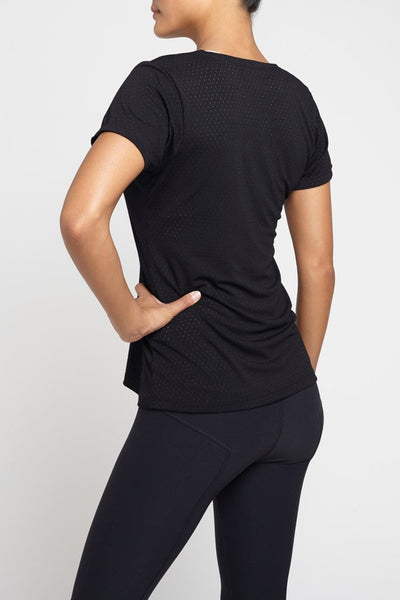 Track & Bliss  Short Sleeve Tee The V Neck - Black JUJA Active - 2