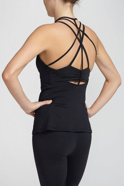 Track & Bliss-Tank-JUJA Active-Scalloped Sweetheart Tank - Black