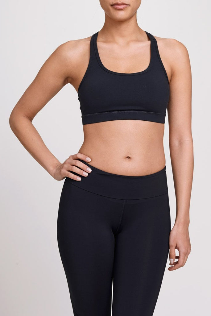 W.I.T.H.  Bra Top Mesh Back Strappy Bra - Black JUJA Active - 1
