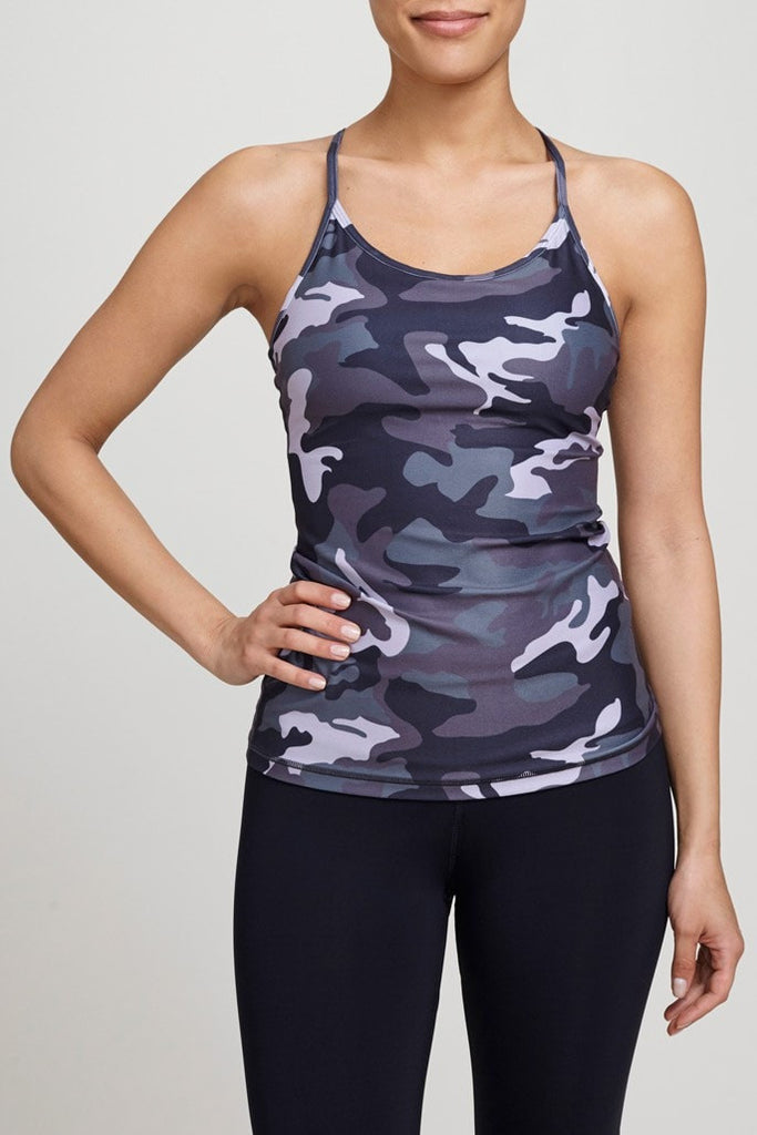 W.I.T.H.  Bra Top Support Tank - Purple Urban Camo JUJA Active