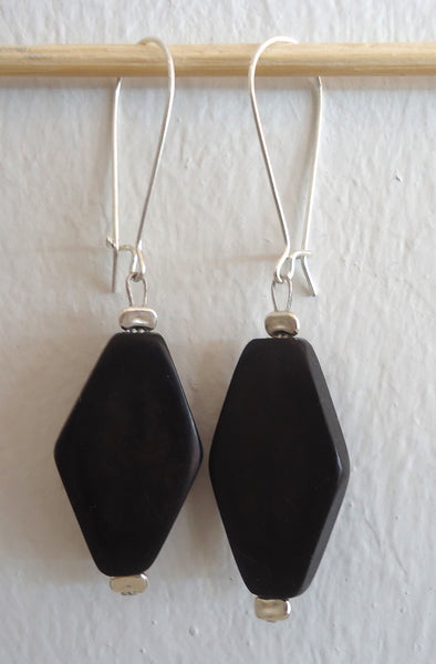Black Diamond Loop Earrings