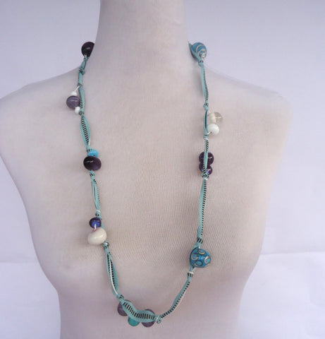Blue Glass and Ribbon Necklace