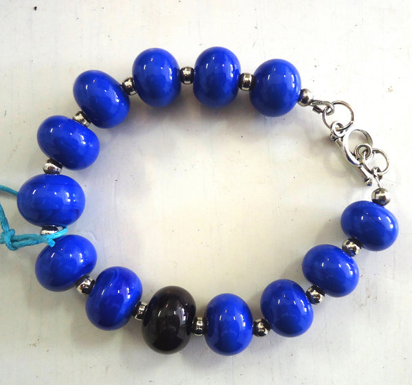 Bright Blue Glass Bracelet