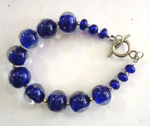 Blue and Clear Glass Bracelet