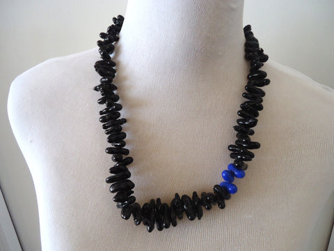Oblong Black and Blue Glass Necklace
