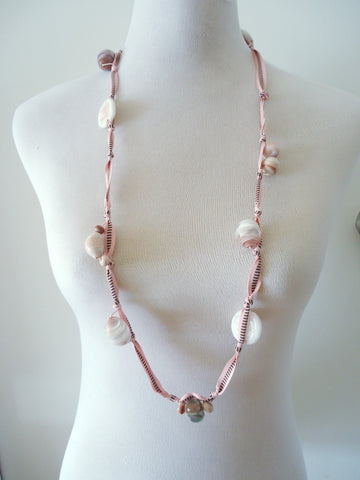 Pink Glass and Ribbon Necklace