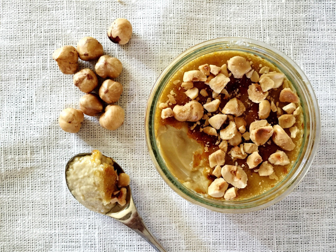 Espresso Creme Brûlée with Toasted Hazelnuts