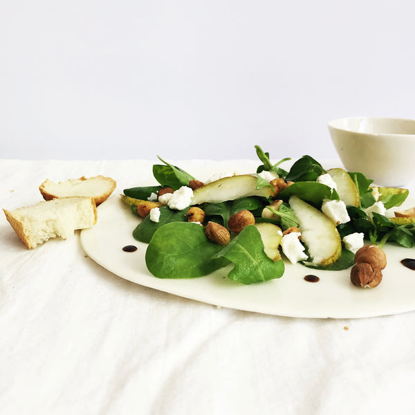 Summer Salad with hazelnuts, pears, goat cheese & balsamic vinegar