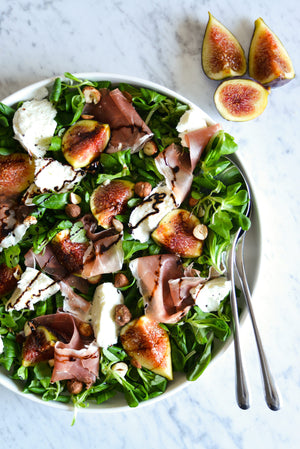 Salad with Figs Burrata Prosciutto Hazelnuts and Balsamic Vinegar