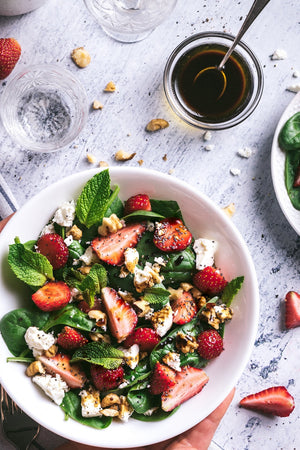 Summer Salad w/ Strawberries Mint Goat Cheese & Aged Balsamic Vinegar
