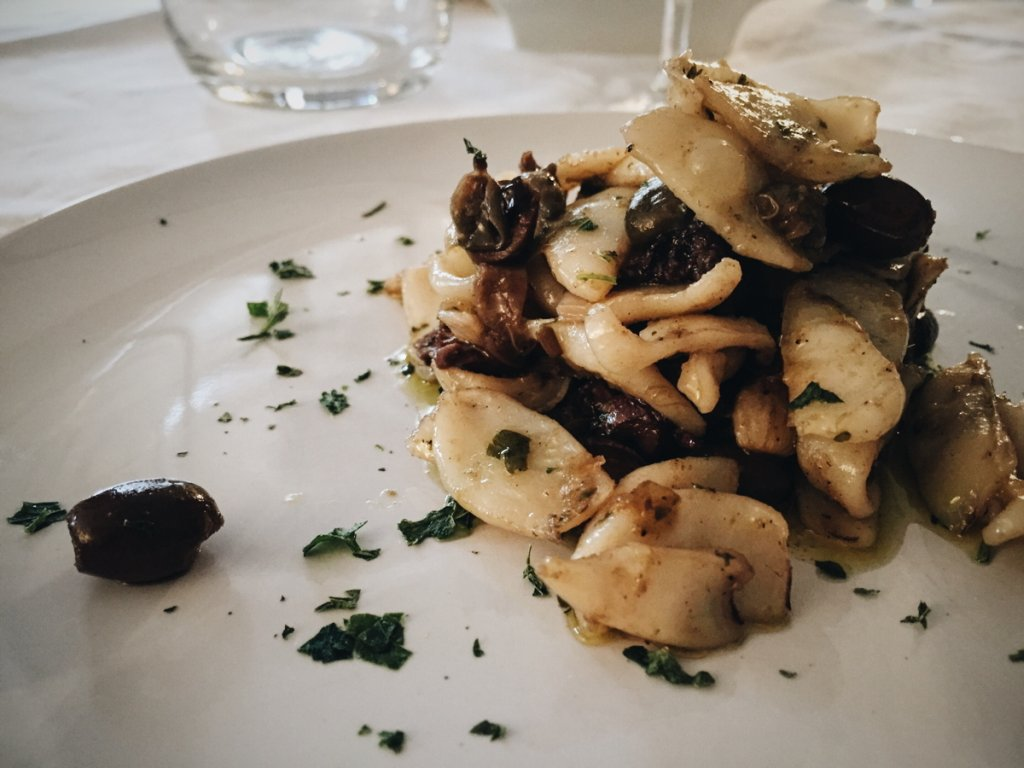 Caramelised Squid Taggiasca Olives Capers