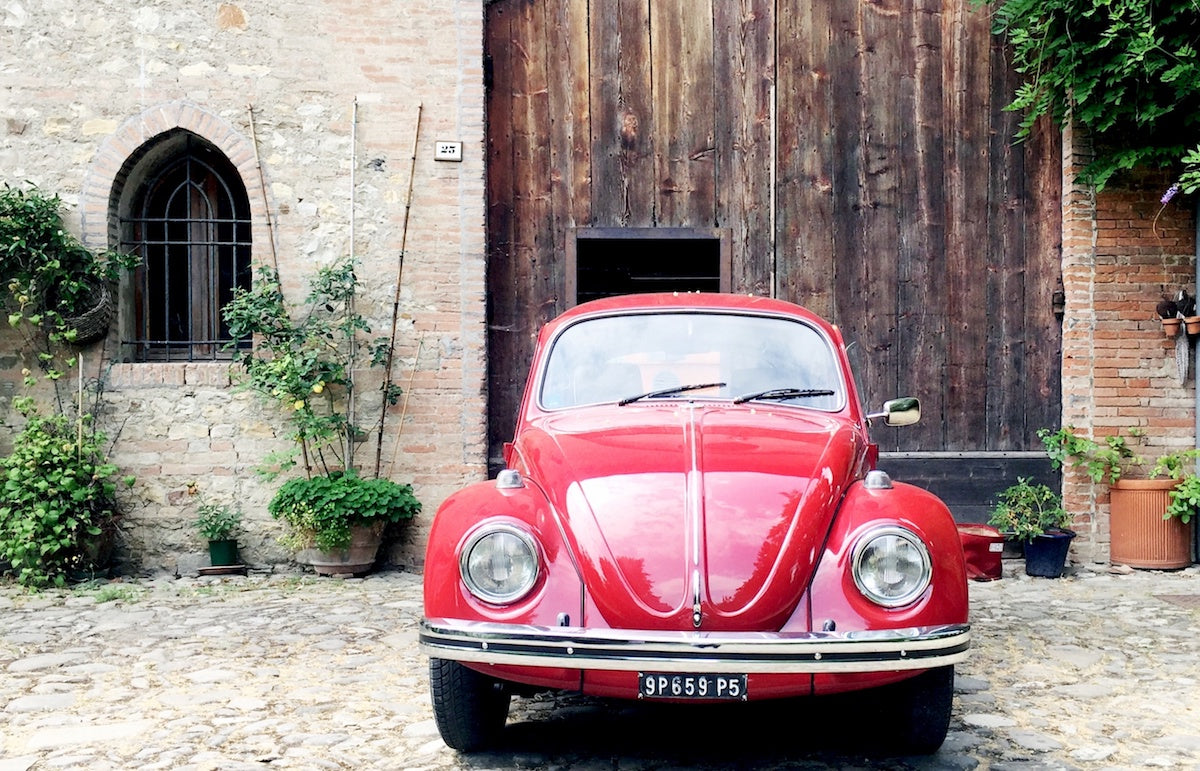 Meet Red of the Red Beetle Travelling Food. Vintage Volkswagen Car, travelling around Italy