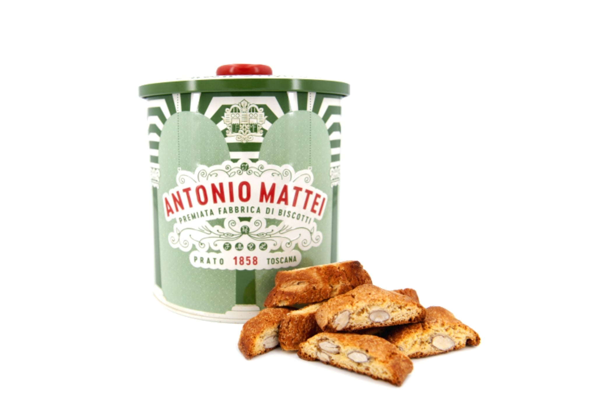 Antonio Mattei Clara Green Tin with Original Cantucci biscuits 500g
