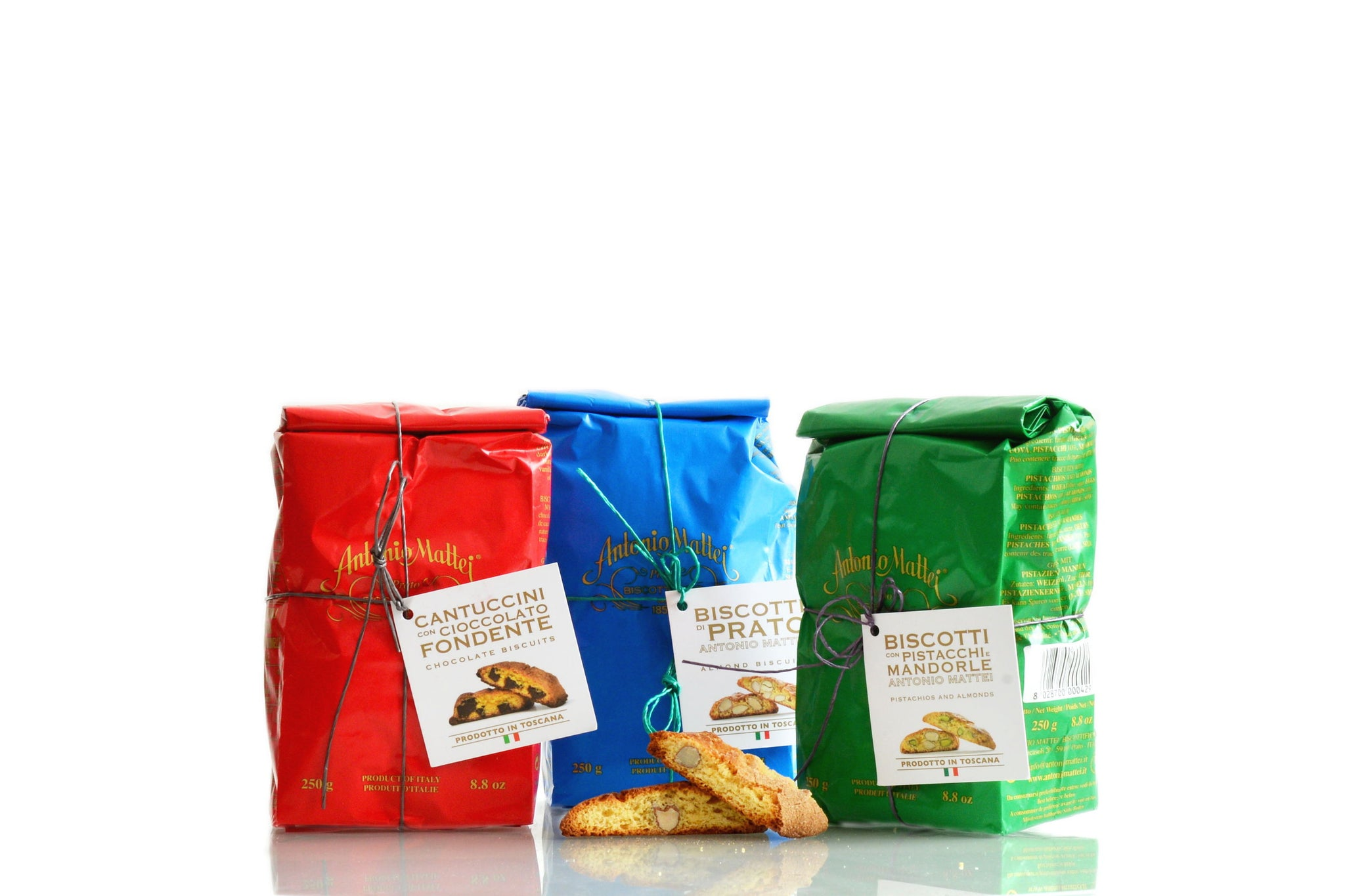 Antonio Mattei Cantucci Trio - Original Recipe Cantucci - Chocolate Cantucci - Pistachios & Almonds Cantucci - Exclusive to the Red Beetle