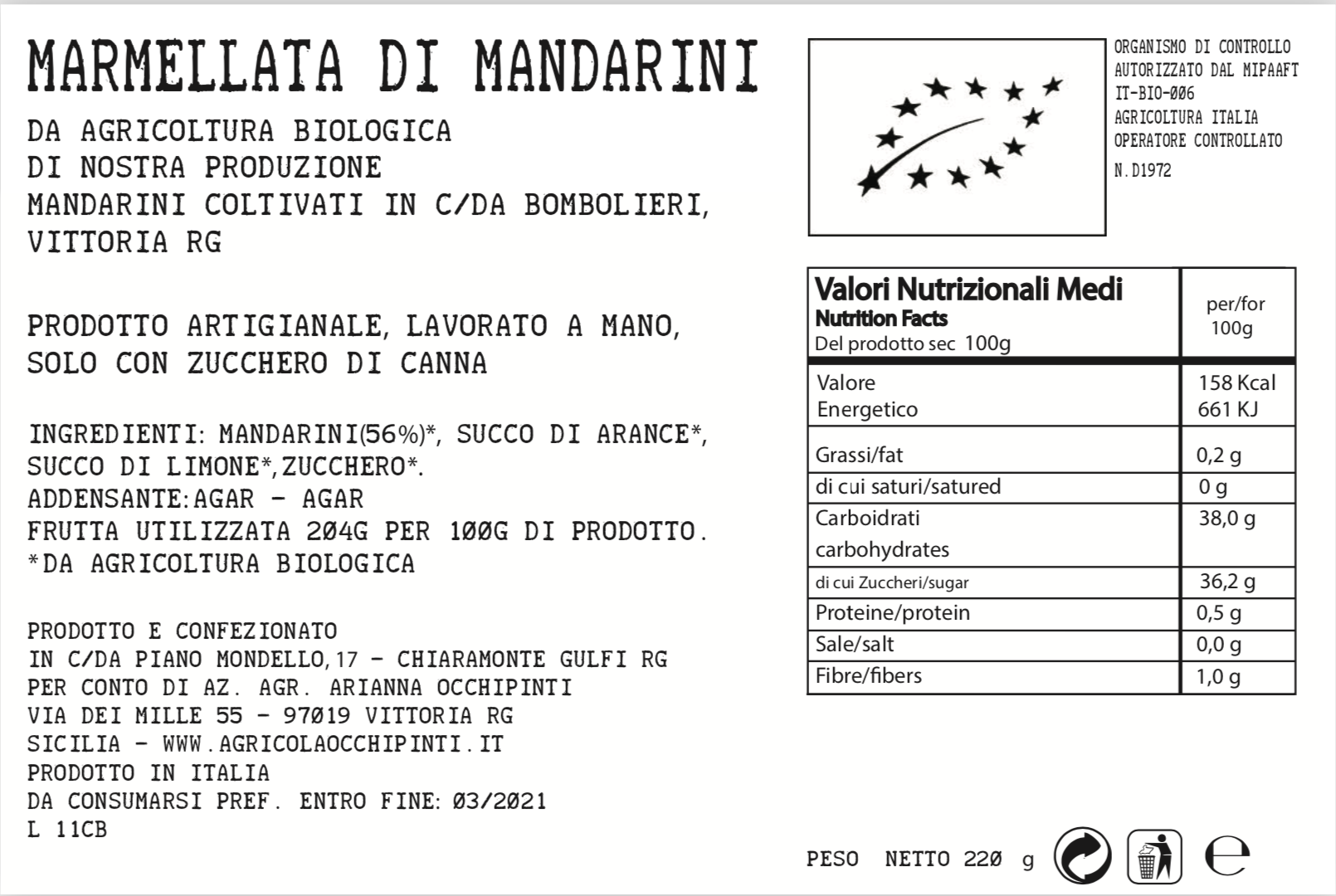 Arianna Occhipinti Organic Mandarin Marmalade Nutritional Values exclusive to the Red Beetle
