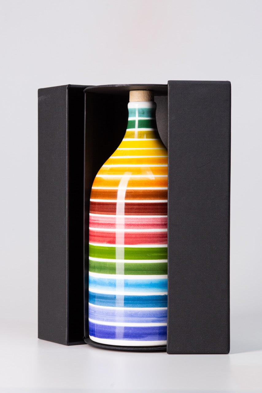 Magnum Rainbow Intense Fruity Extra Virgin Olive Oil in Handmade Ceramic Bottle 1.5L