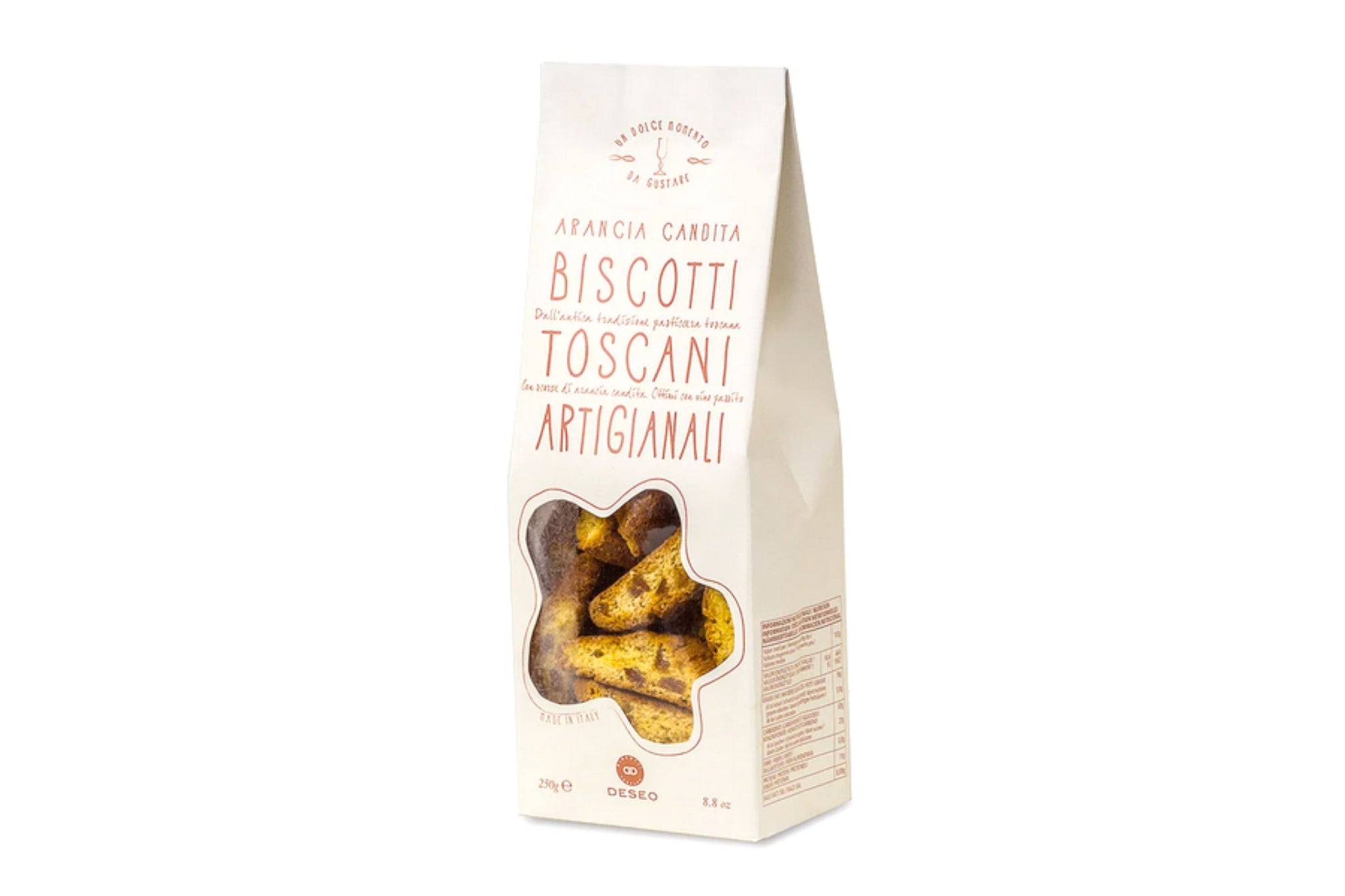Deseo Artisan Biscuits Candied Oranges Cantuccini 250g