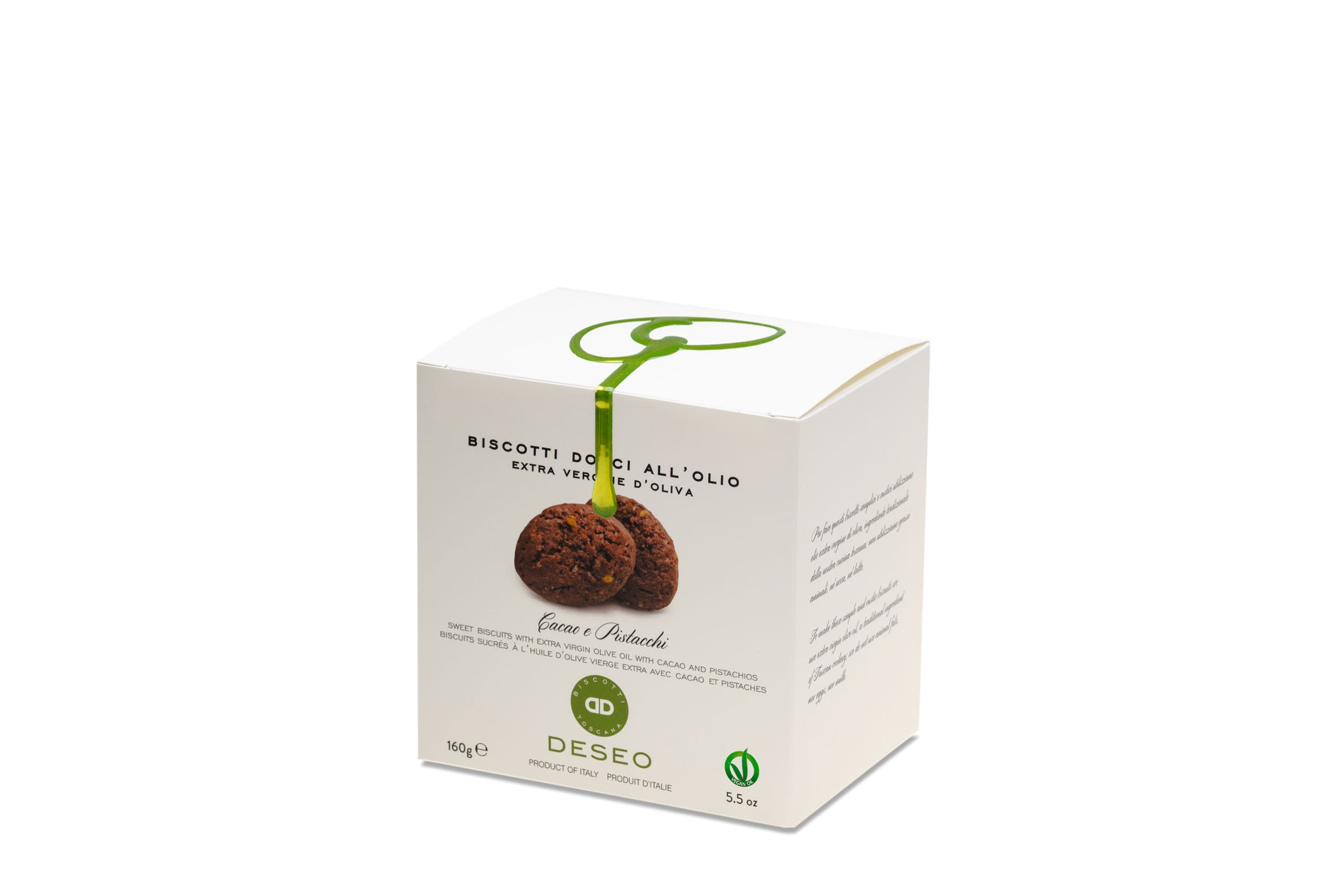 Deseo Cocoa & Pistachios Vegan Biscuits w/ Extra Virgin Olive Oil 160g Shop the Red Beetle