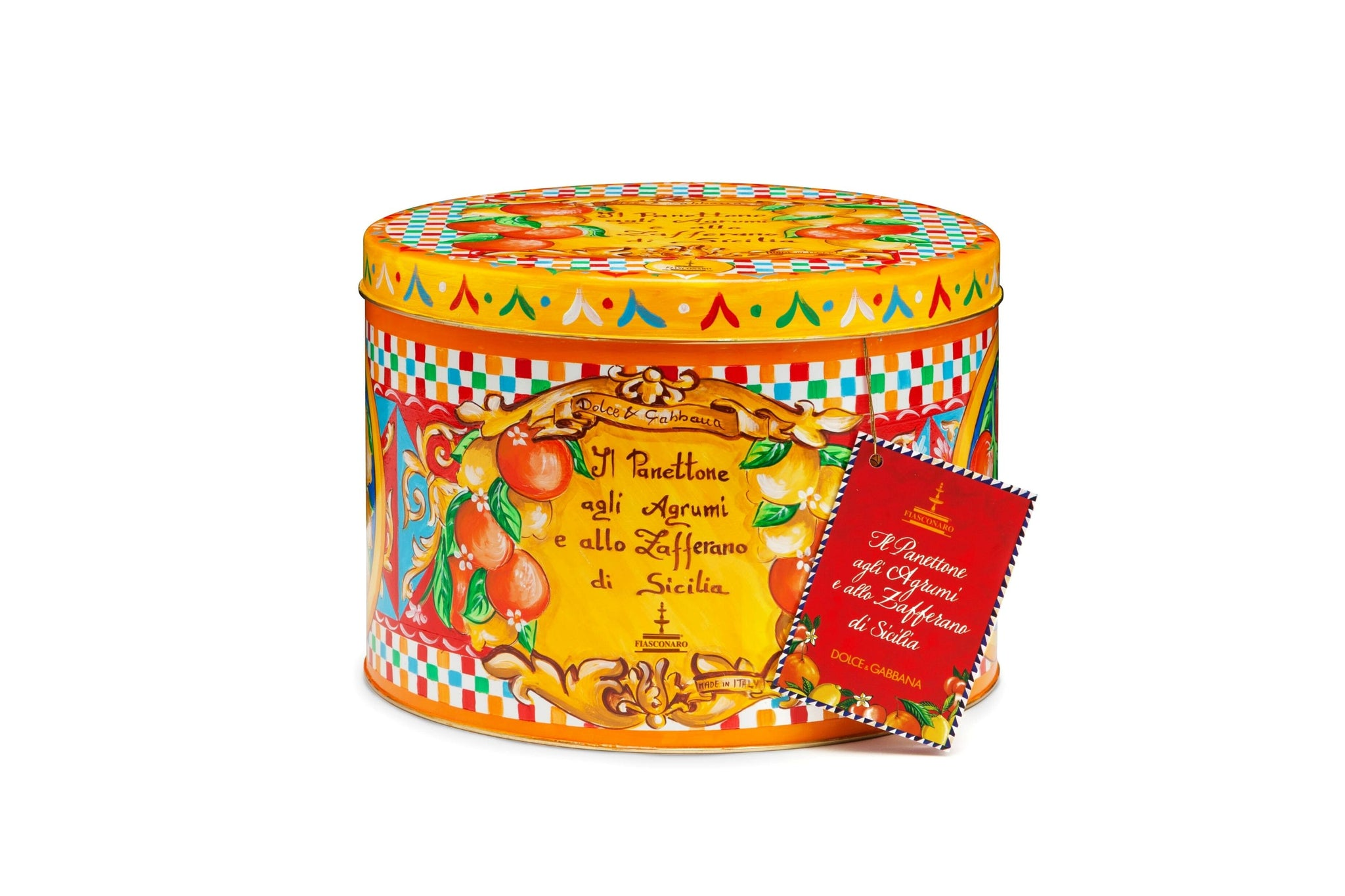Dolce Gabbana Yellow Tin Candied Oranges and Saffron Panettone from Sicily