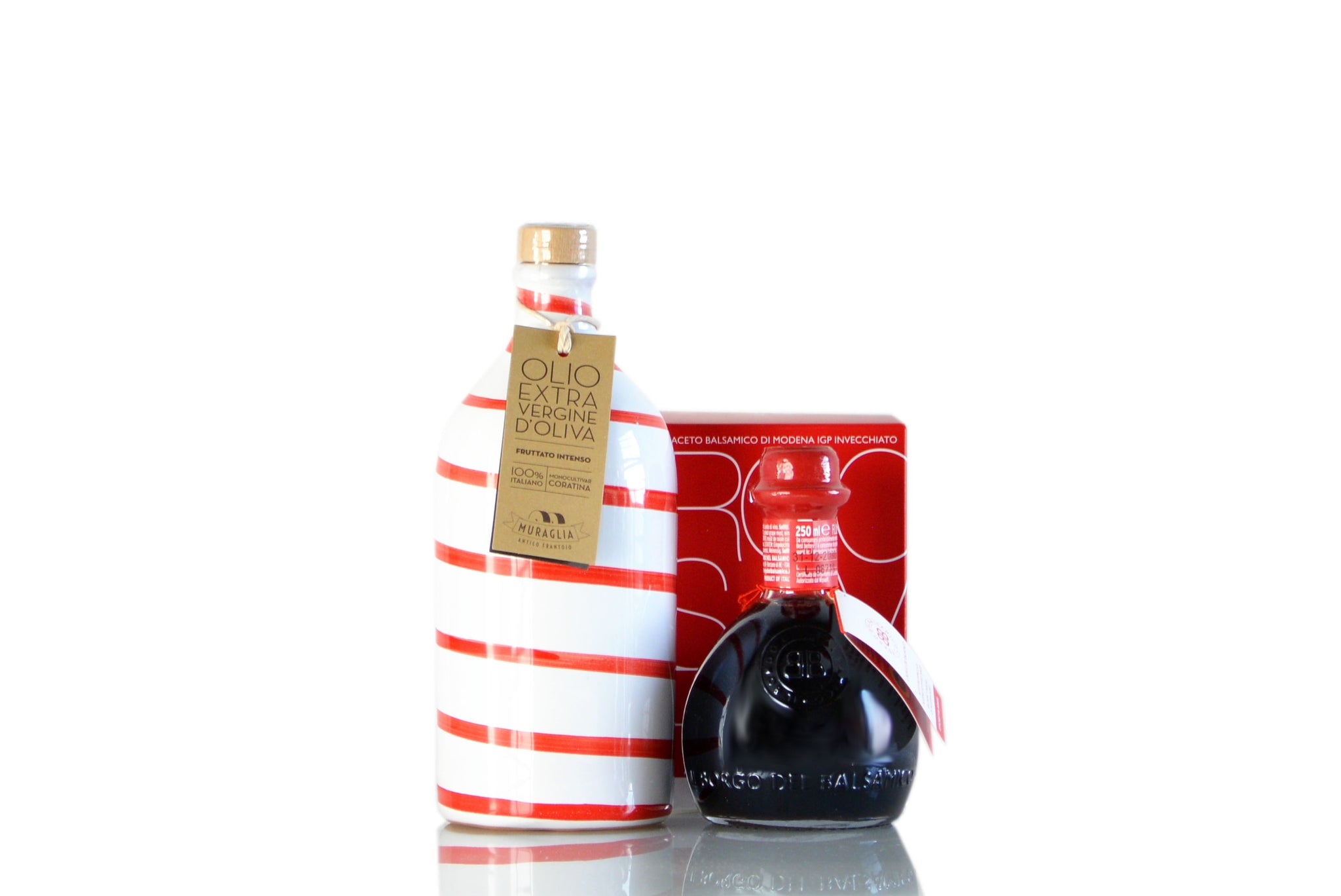 Luxury Red Balsamic Vinegar Modena IGP & Extra Virgin Olive Oil Condiment Set