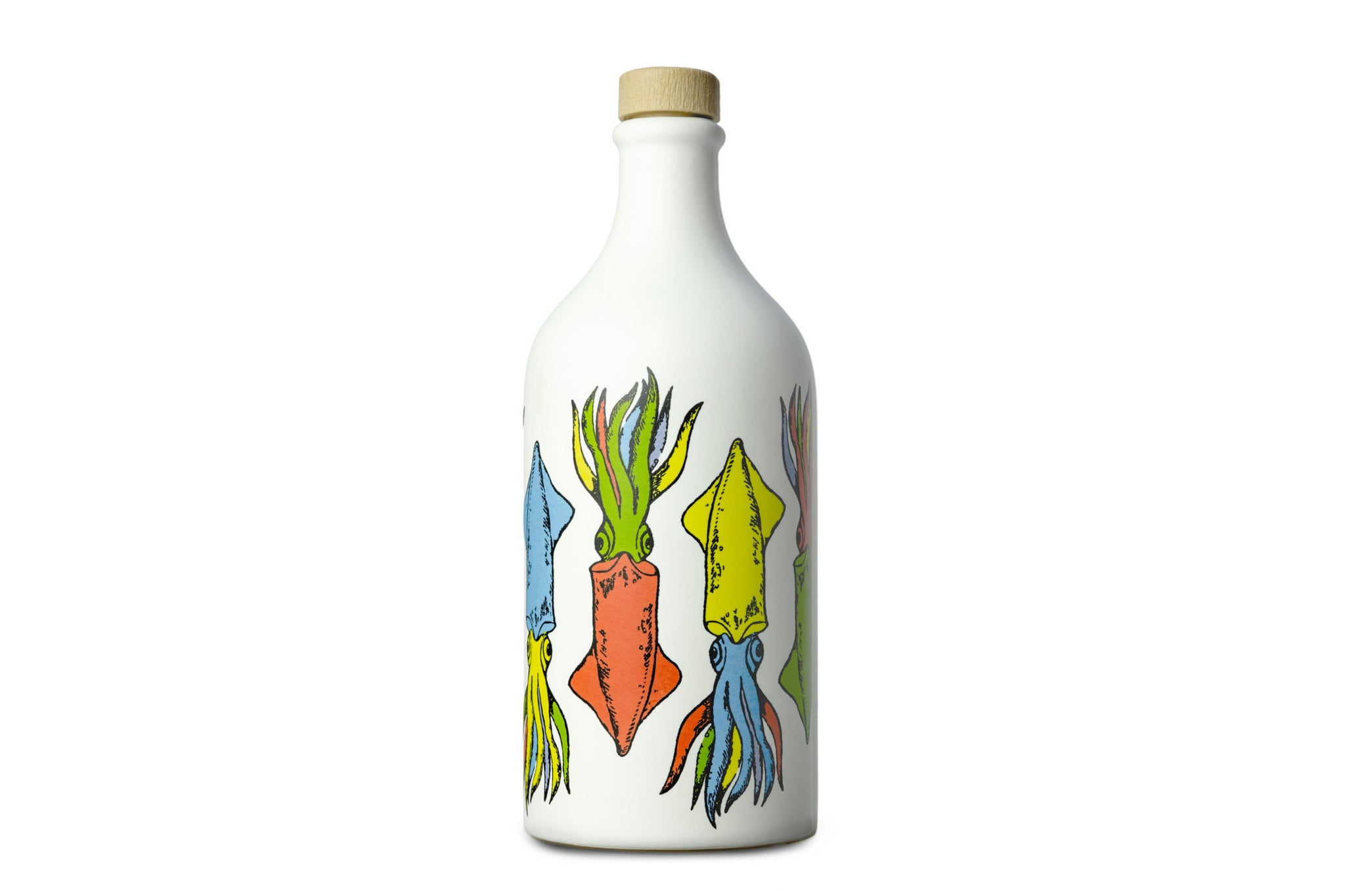 Frantoio Muraglia Intense Extra Virgin olive oil in handmade and painted ceramic bottles | Pop Art Collection Cuttlefish