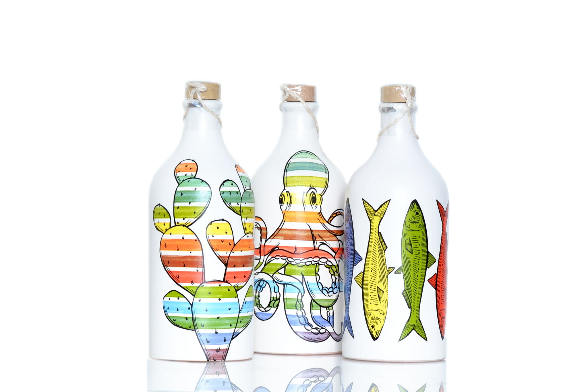 Frantoio Muraglia Pop Art Ceramic Bottles Extra Virgin Olive Oil 500ml 3 bottles