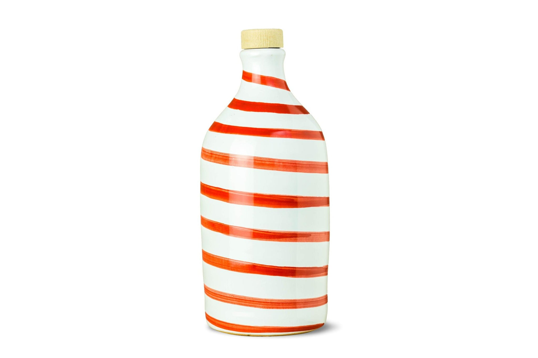 Frantoio Muraglia Extra Virgin Olive Oil in Red Stripes handmade ceramic bottle - Buy on the Red Beetle Shop - Buy Authentic Italian Food on the Red Beetle Shop