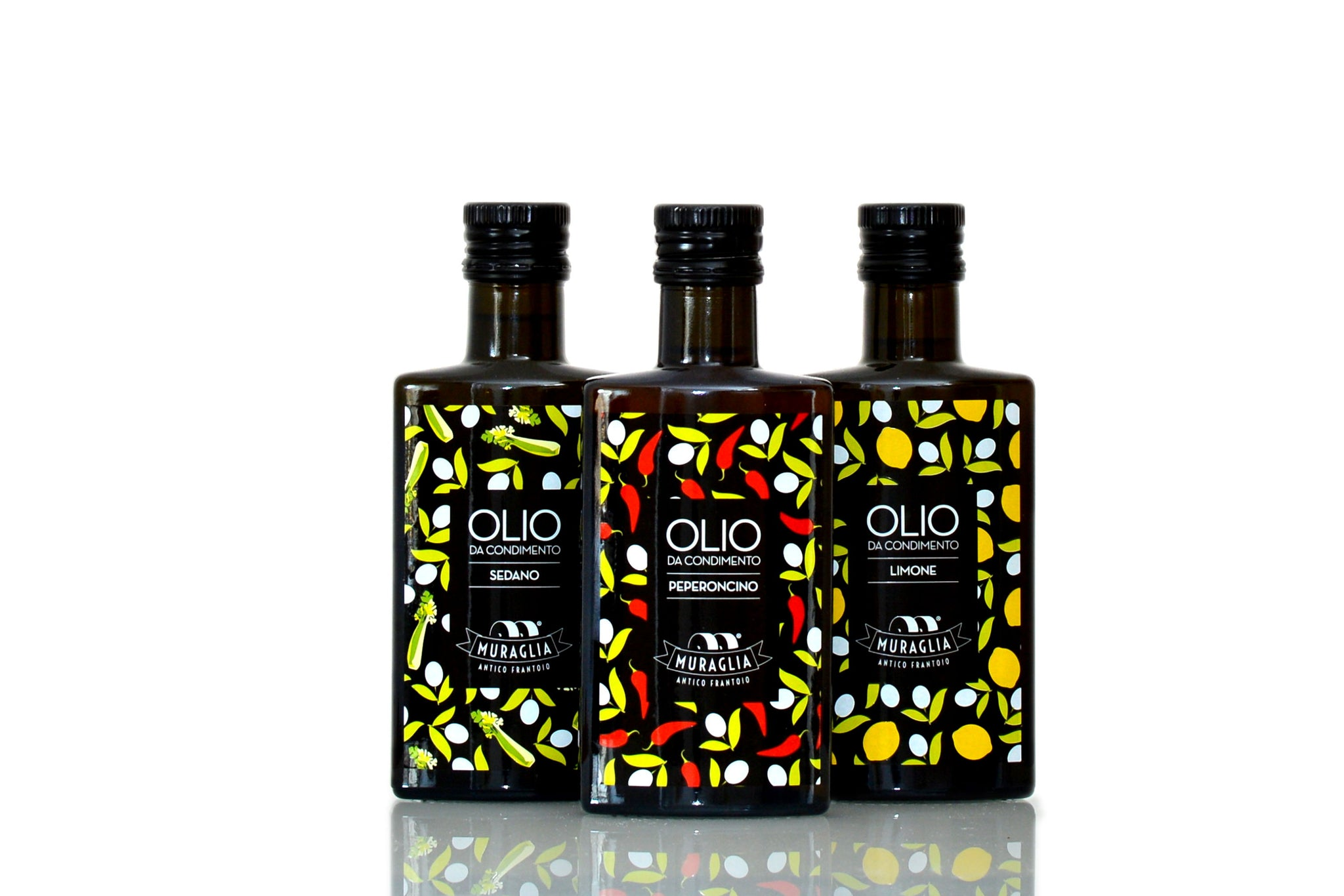 Celery. Lemon. Chilli. The Three Musketeers of Flavoured Olive Oils by Frantoio Muraglia - Shop the Red Beetle