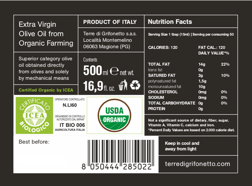 Terre di Grifonetto Organic Extra Virgin Olive Oil Blend 500ml - the Red Beetle