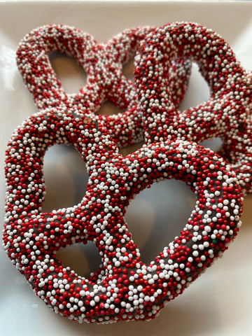 SALE Jumbo Pretzel Dark Chocolate Red & White Seeds