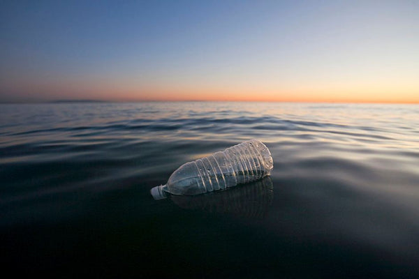 Plastic bottle floating ocean