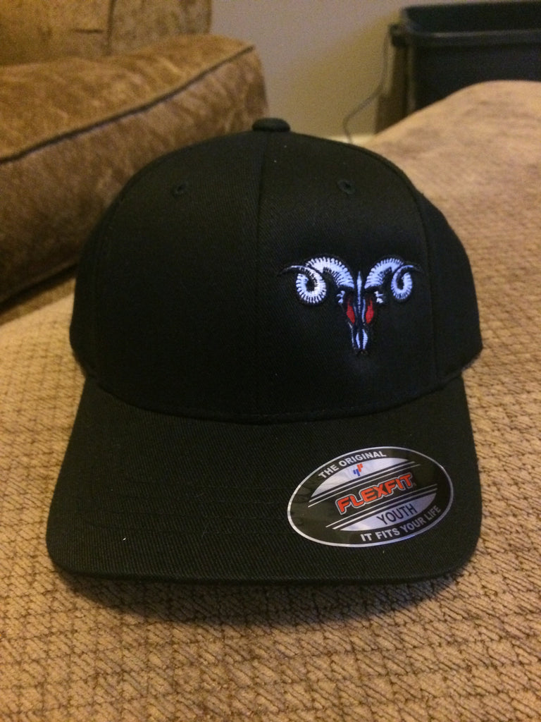 Solid Black MadRam11 Logo  FlexFit Hat