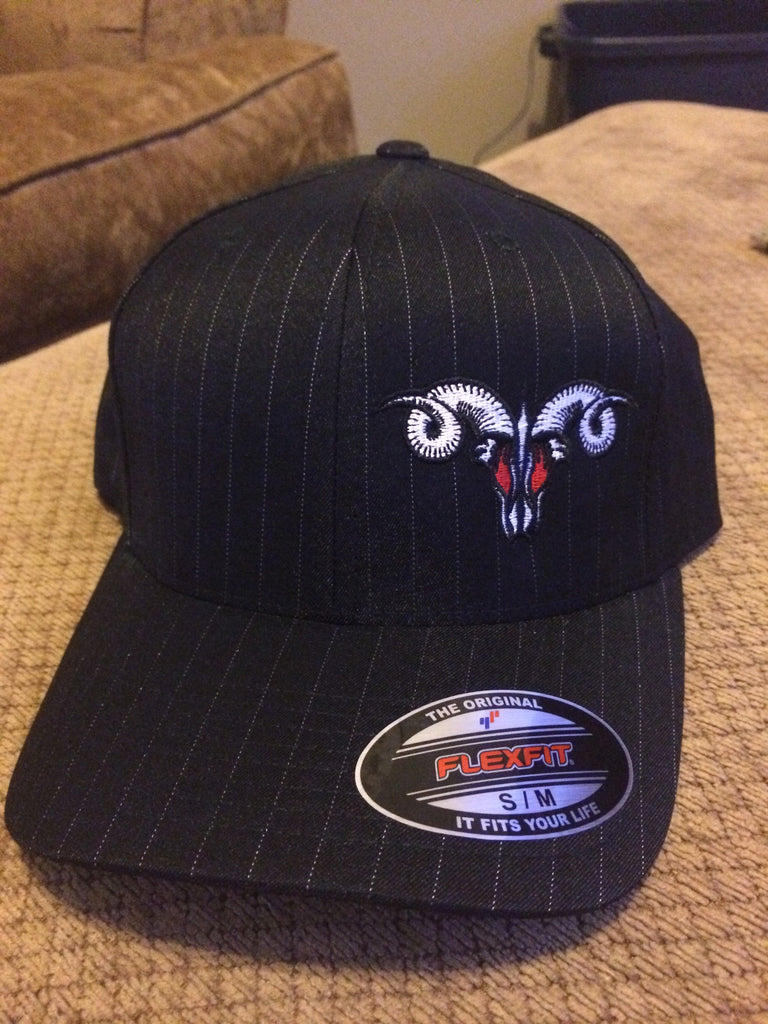 Black PinStripe MadRam11 Logo  FlexFit Hat