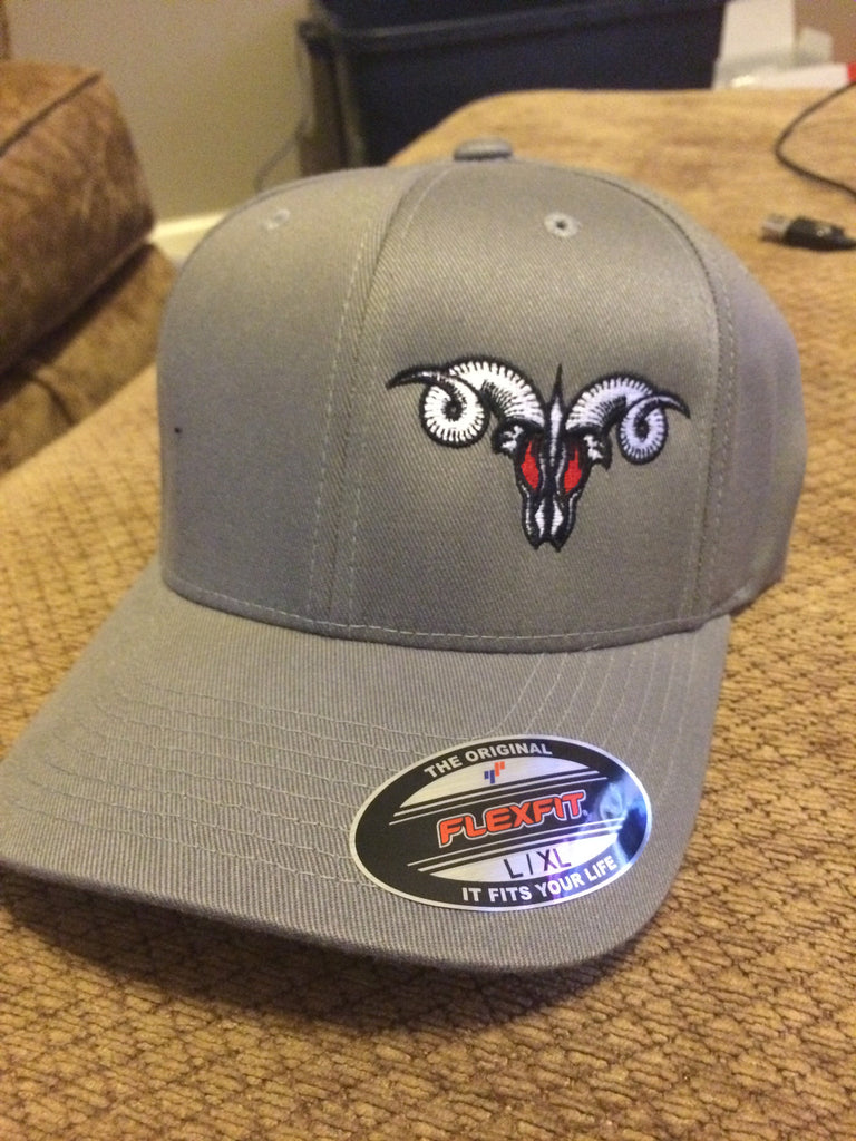 Grey MadRam11 Logo  FlexFit Hat