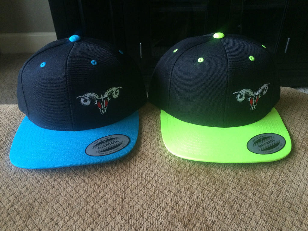Snap Back Flat Bill Neon Green/Black and Blue/Black MadRam11 Logo Hats