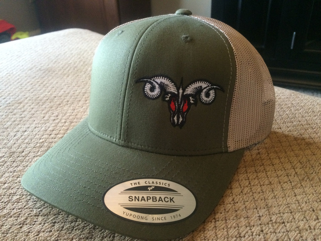Green and Tan  MadRam11 Snapback Trucker Hat