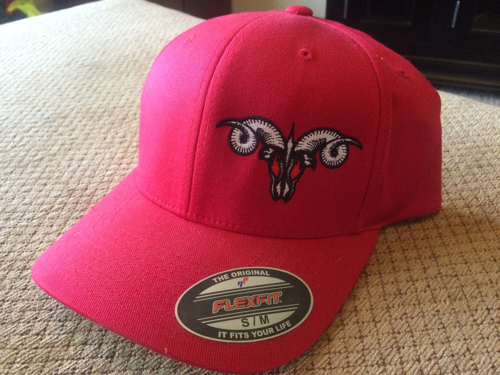 Solid Red MadRam11 Logo  FlexFit Hat