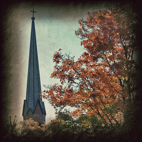 St. Patrick's of Bloomington - Steeple in Fall