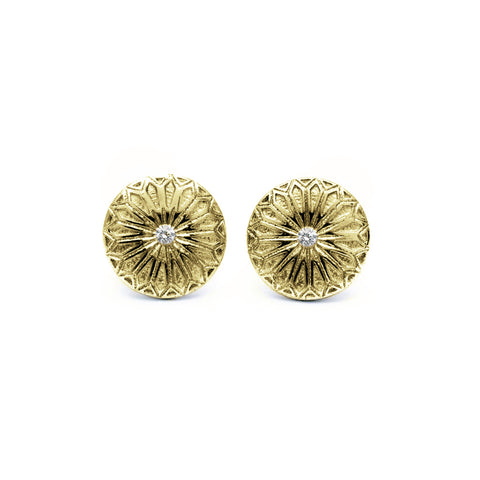 Gold Fenestra Stone Earrings