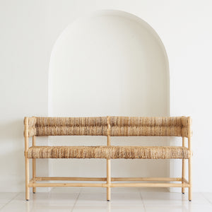 Diamond Bench With Woven Palm Seat & Back