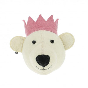 Mini White Bear Head Pink Crown by Fiona Walker