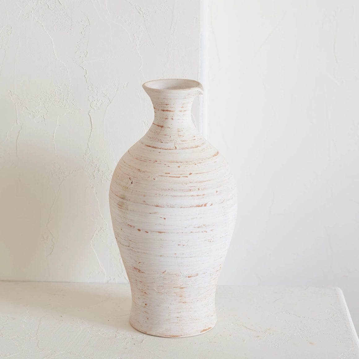 Earth Collection - Farah Vase Tall, White Washed / سيراميك