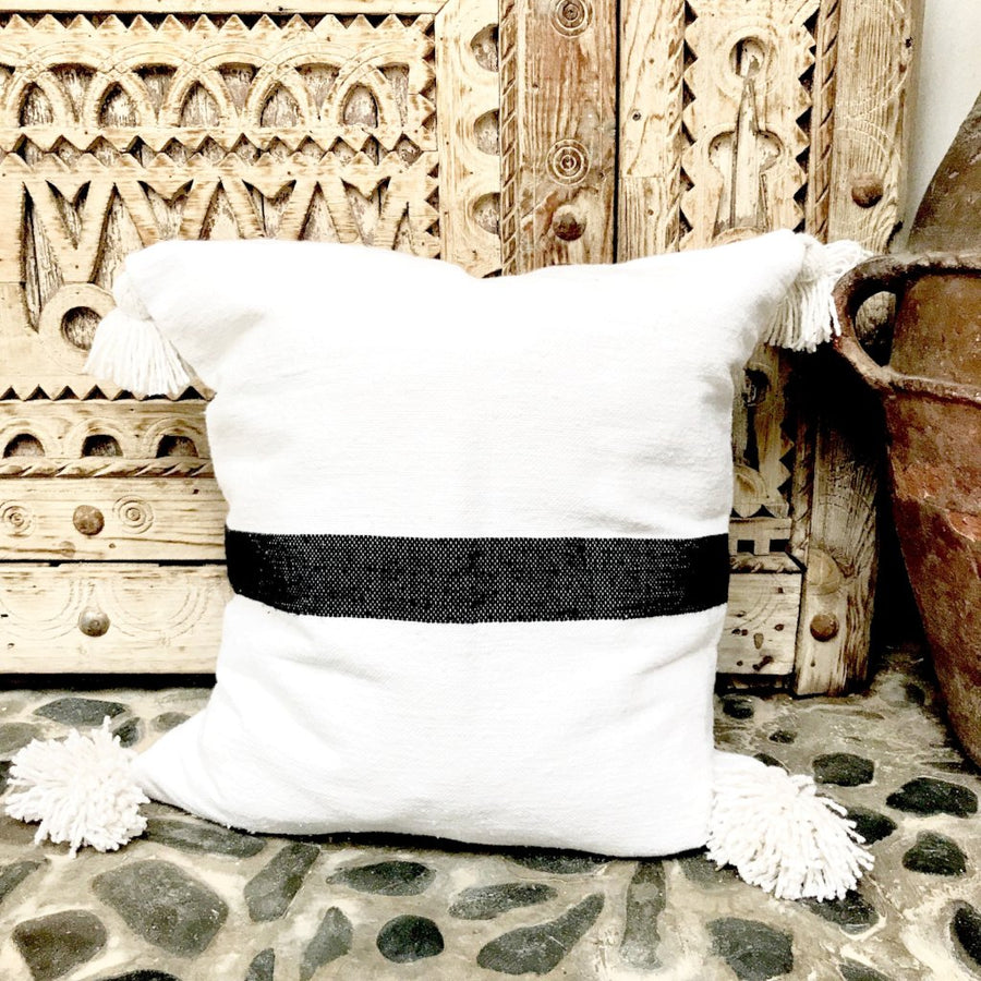 Cinnamon Stripe Cushion, Black and White / وسادة