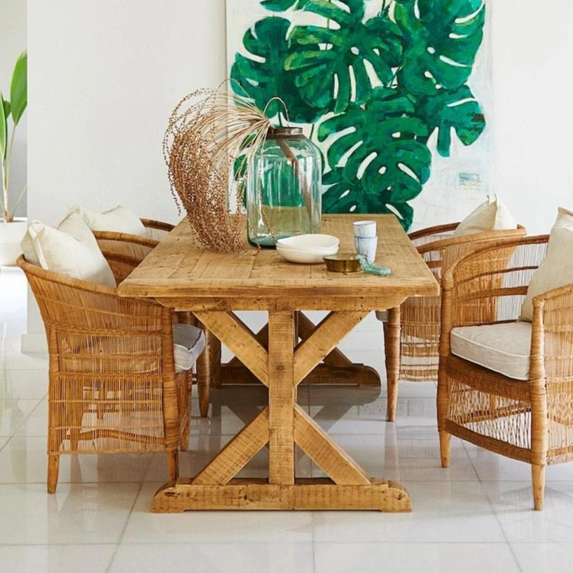 Recliamed Wooden dining Table 6-8 Seater