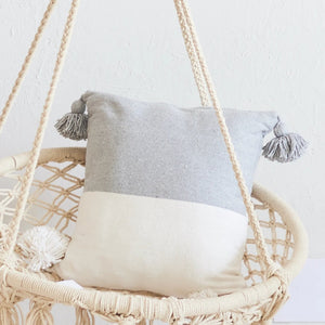 Cinnamon Half Grey & White Cushion / وسادة