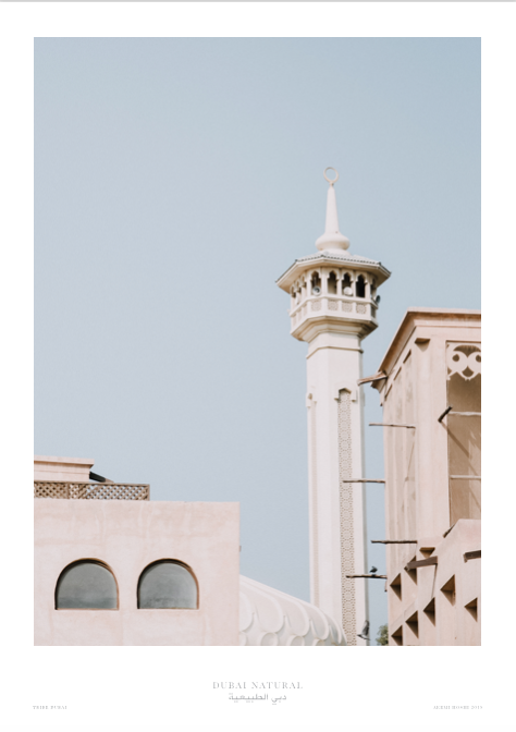 Dubai Natural Framed Print, Oak - Mosque / طباعة