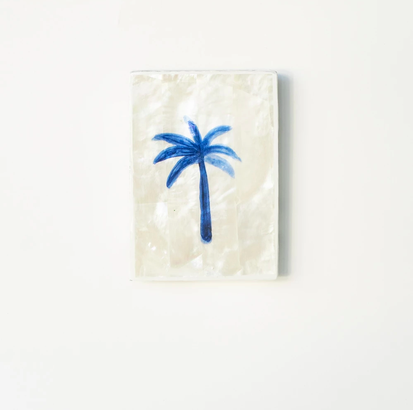 AHOY - Mini Tile, Mother of Pearl Blue Palm / بلاط